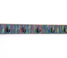 Wall Coat Rack Handmade Multi Colored Mosaic Batik Striped Paper