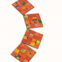 Mosaic Coasters Handmade Orange Tangerine Paper